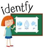 Wordcard per identifica con la ragazza e la massa differente royalty illustrazione gratis