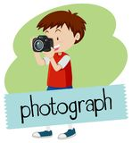 Wordcard for photograph with boy taking picture with camera. Illustration Stock Image