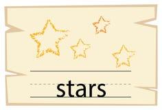 Wordcard pour des étoiles de mot illustration de vecteur