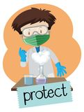 Wordcard for protect with boy wearing protection items in lab. Illustration Royalty Free Stock Image