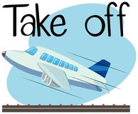 Wordcard for take off with airplane taking off. Illustration royalty free illustration