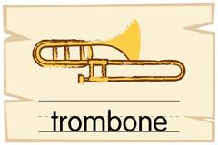 Wordcard template for trombone. Illustration royalty free illustration