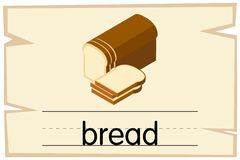 Wordcard template for word bread. Illustration royalty free illustration