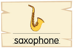 Wordcard template for word saxophone. Illustration royalty free illustration