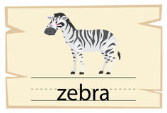 Wordcard template for word zebra Stock Images