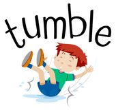 Wordcard for tumble with boy tumbling. Illustration Royalty Free Stock Images