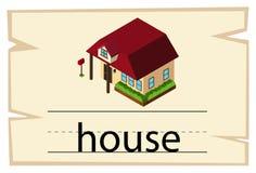 Wordcardmalplaatje met woordhuis stock illustratie