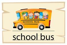 Wordcardmalplaatje voor de bus van de woordschool royalty-vrije illustratie