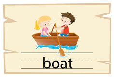 Wordcardmalplaatje voor woordboot stock illustratie