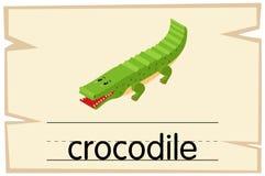Wordcardmalplaatje voor woordkrokodil stock illustratie