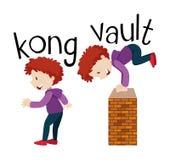 Wordcards para el kong y la cámara acorazada stock de ilustración