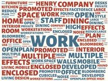 Wordcloud с главной работой слова и связанными словами, абстрактной иллюстрацией стоковая фотография