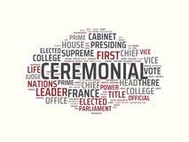 Wordcloud avec les mots cérémonieux et associés principaux de mot, illustration abstraite illustration de vecteur