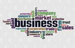 Wordcloud of business. Words on the financial background Stock Images