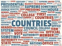 Wordcloud con los países principales y las palabras asociadas, ejemplo abstracto de la palabra ilustración del vector