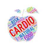 Wordcloud de forme de pomme de soins de santé cardio- Images stock