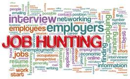 Wordcloud de la caza de trabajo Foto de archivo libre de regalías