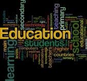 Wordcloud de la educación Imagen de archivo