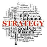 Wordcloud de la estrategia Fotografía de archivo libre de regalías