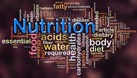 Wordcloud de la nutrición Fotos de archivo