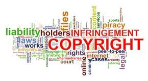 Wordcloud de la violación de derechos de autor ilustración del vector