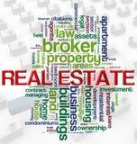Wordcloud de las propiedades inmobiliarias Fotos de archivo libres de regalías