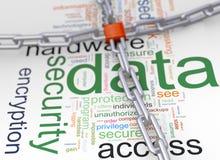 Wordcloud de protection des données Photos stock