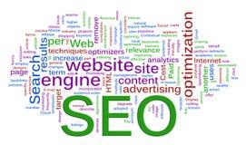 Wordcloud de SEO - optimización del Search Engine Fotografía de archivo libre de regalías