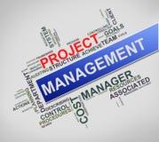 Wordcloud de Wordtag do conceito da gestão do projeto ilustração royalty free