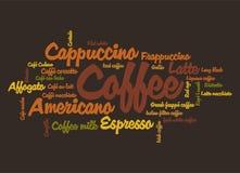 Wordcloud del caffè Fotografia Stock