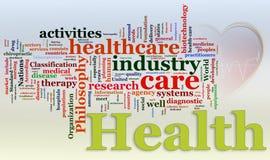 Wordcloud del cuidado médico Imagen de archivo libre de regalías
