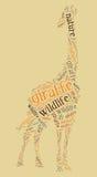 Wordcloud della giraffa illustrazione di stock