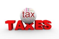 wordcloud des impôts 3d sur l'impôt de mot Photographie stock