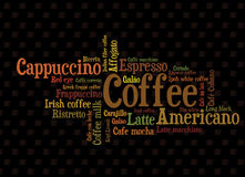 Wordcloud do café Fotografia de Stock Royalty Free