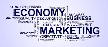 Wordcloud för att marknadsföra och ekonomi royaltyfri illustrationer