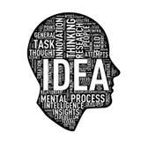 Wordcloud för det mänskliga huvudet märker idé Arkivfoton