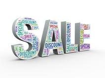 wordcloud för special rabatt för försäljning 3d Royaltyfria Bilder