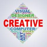 Wordcloud för spegeltriangeldesignen märker idérikt Arkivbilder
