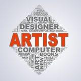 Wordcloud för spegeltriangeldesignen märker konstnären Arkivbilder