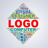 Wordcloud för spegeltriangeldesignen märker logo Arkivfoto