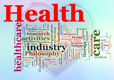 Wordcloud of Health. Words in a wordcloud of Healthcare Royalty Free Stock Image