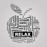 Wordcloud healthcare apple concept relax Stock Photo