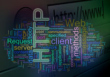 Wordcloud of HTTP - HyperText Transfer Protocol Royalty Free Stock Photography