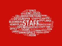 Wordcloud with the main word staff and associated words, abstract illustration stock image