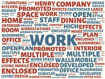 Wordcloud with the main word work and associated words, abstract illustration stock photography