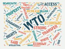 Wordcloud with the main word wto and associated words, abstract illustration stock image