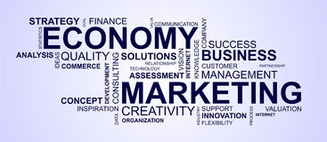 Wordcloud for marketing and economy Royalty Free Stock Photography