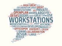 Wordcloud med de huvudsakliga ordarbetsstationerna och de förbundna orden, abstrakt illustration arkivbilder