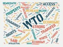 Wordcloud med huvudsaklig ordWTO och de förbundna orden, abstrakt illustration fotografering för bildbyråer