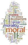 Wordcloud moral illustration stock